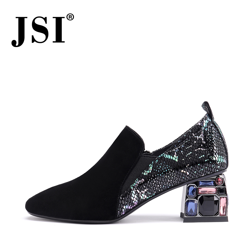 JSI Stylish Round Toe Women Pumps Casual Solid Slip-On High Heel Shoes Basic Convenient Outside Square Heel Ladies Pumps JO229
