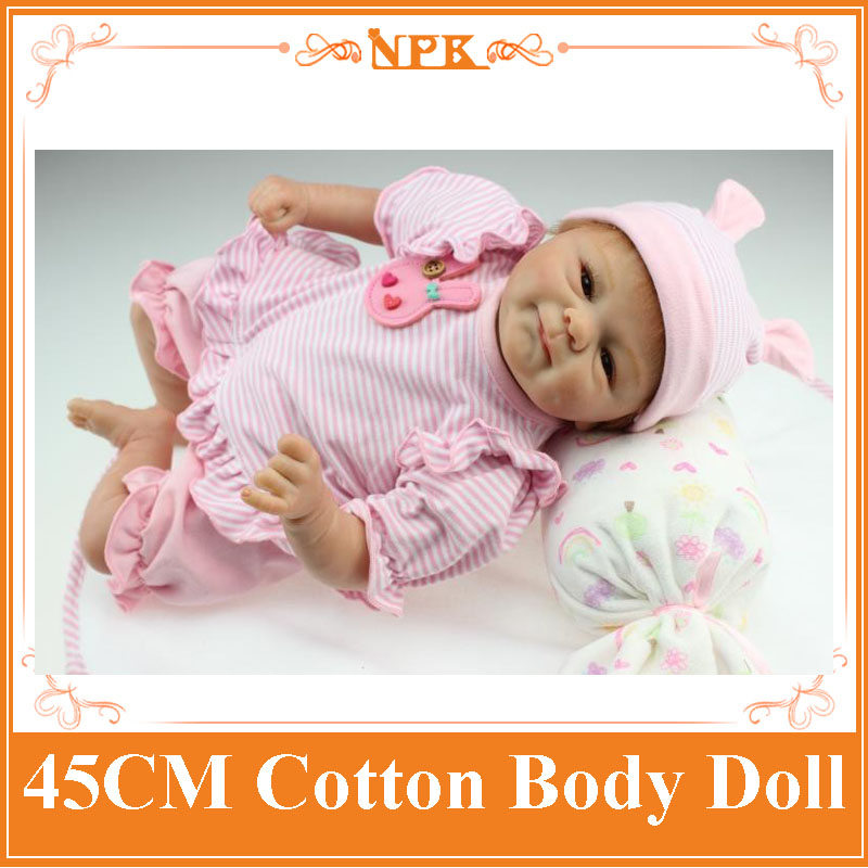 18Inch Doll 45cm NPK New Reborn Dolls Collection Handmade Realistic Silicone Alive Baby Doll With Blue And Brown Eyes To Choose npk collection handmade bjd doll 18 inch girl doll include clothes shoes plastic baby princess doll plaything toy for children