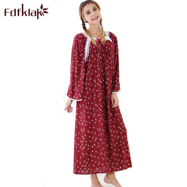 1c3fba21841bb Fdfklak Wine Red/Navy Print Maternity Dress Spring Clothes For Pregnant And  Lactating Nursing Nightgown Maternity Sleepwear F83