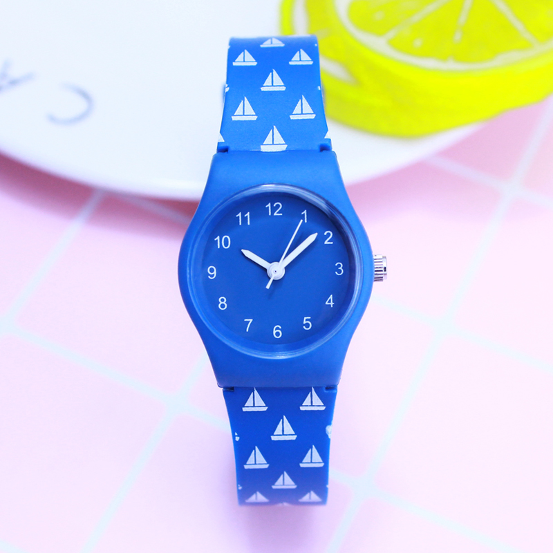 2018 willis women simple fashion mini quartz watches students kids Contrast color stripe soft waterproof sports wristwatches stripe contrast split pants