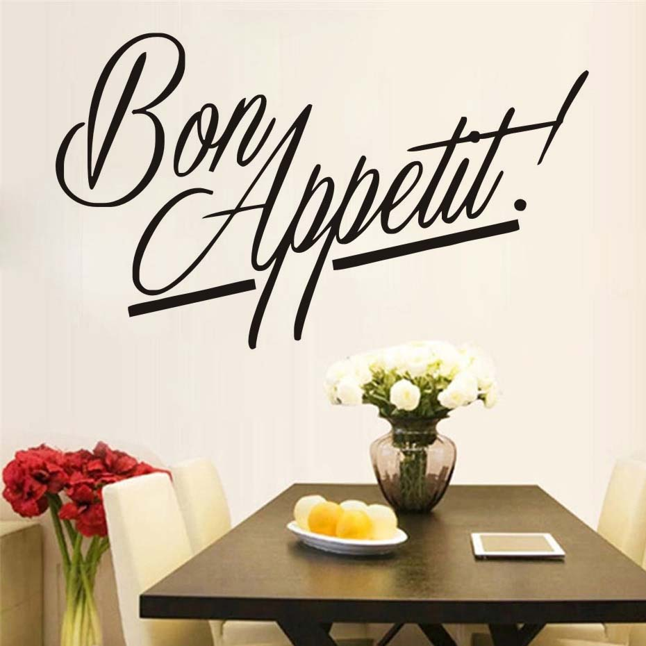 Bon Appetit Quote Kitchen Cook Wall Decals Art Dining Room Removable Decals DIY Wallpaper Mural Vinyl Stickers Home Decor