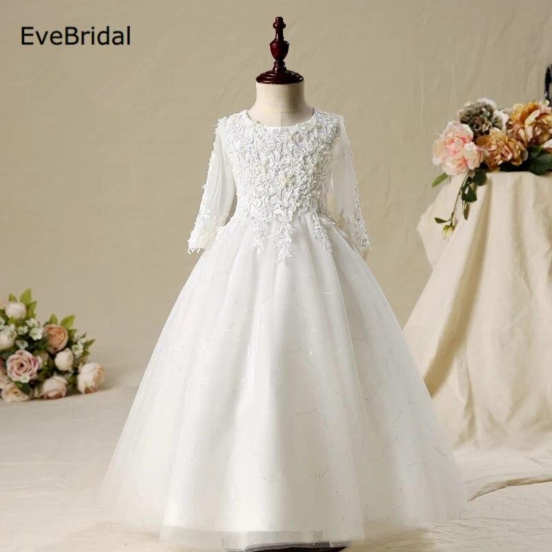 Long Sleeve A Line   Flower     Girl     Dresses   for Wedding First Communion   Dresses   Wedding Party   Dress   Runway Show Pageant Danceway