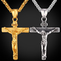 Stainless Steel Yellow Gold Plated INRI Jesus Piece Cross Pendant & Necklace Chain For Men Gift Vintage Christian Jewelry GP1166