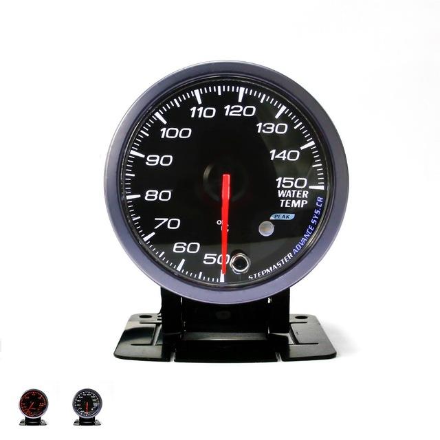 Nenhum logotipo 60mm Preto/Branco rosto Água temp calibre Branco/Âmbar luz com a função de pico/Carro temperatura da água gauge/Meter Car