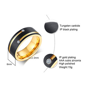 Image 3 - ZORCVENS Black Tungsten Carbide Wedding Band with Gold Tone Lines AAA CZ Stones Ring for Men High Quality