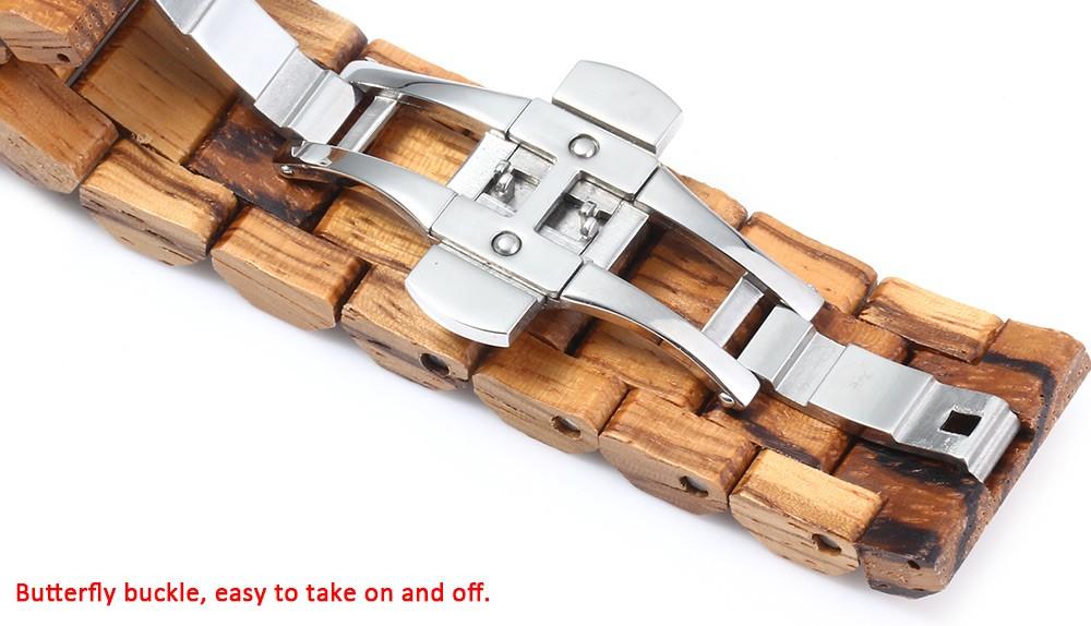 BEWELL 17 Luxury Brand Wooden Men Quartz Watch with Luminous Hands Calendar Water Resistance Analog Wrist watches reloj hombre 5