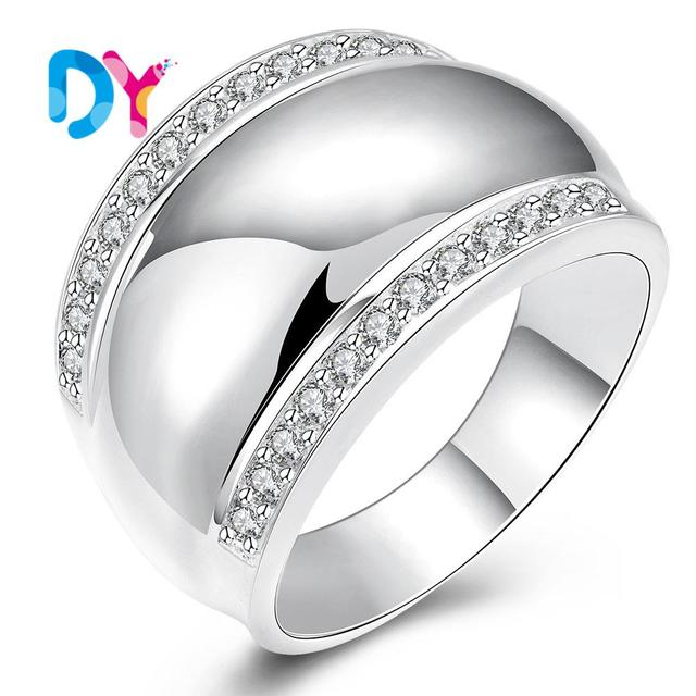 2016 New Luxurious Austrian Crystal Metal Ring Real Platinum Color