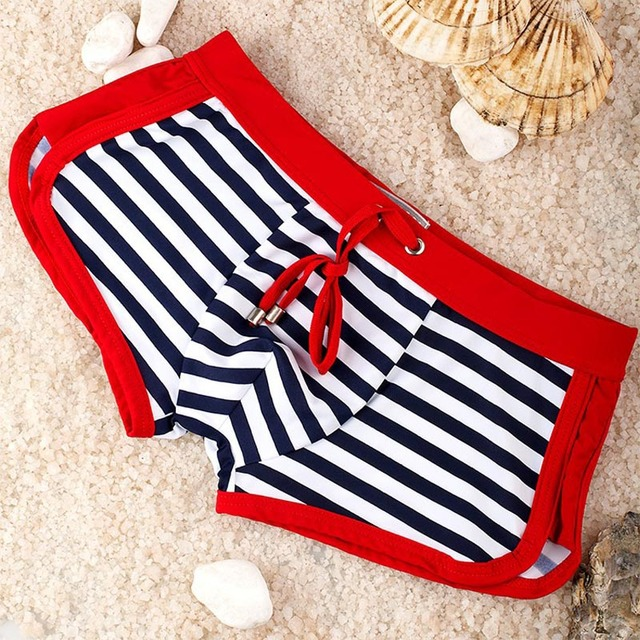 Seobean Mens Swim Briefs Sexy Stripe Low Waist Men's Bathing Shorts Gay Penis Pouch Men's Bikini Swimwear Beach Board Shorts