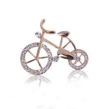 2019 new elegant fashion bicycle lovers brooch gold rhinestones shape boutonniere unisex flash pin jewelry