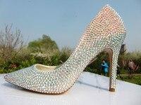 Элегантные свадебные туфли на высоком каблуке Туфли для выпускного вечера красочные diamond женская обувь леди женские туфли лодочки со страз