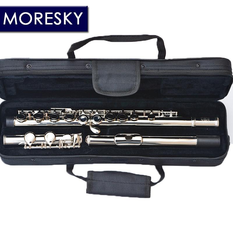 MORESKY-flûte de Concert plaquée Nickel/argent avec clé E, clé C, Cupronickel, trous de fermeture/ouverture, 16/17