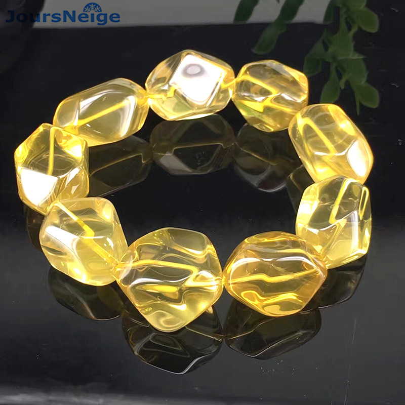 Wholeasale Fine Yellow Natural Crystal Bracelets Bright Geometric type Hand String Lucky for Women Men Fashion Simple Jewelry lanzyo natural tourmaline bracelets fine jewellery fashion hand string 4mm candy bracelet wholesale sc002