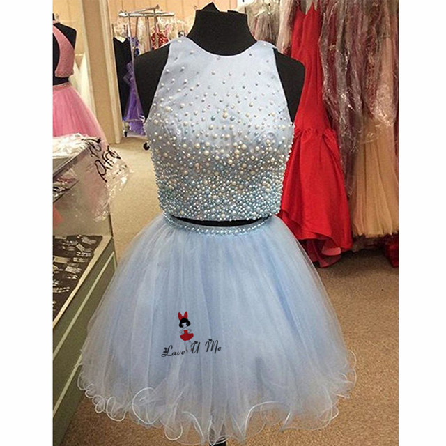 Blue New Year Christmas Party Dress 2018 Short 2 Piece Prom Dresses Pearls  Homecoming Above Knee a297b3512