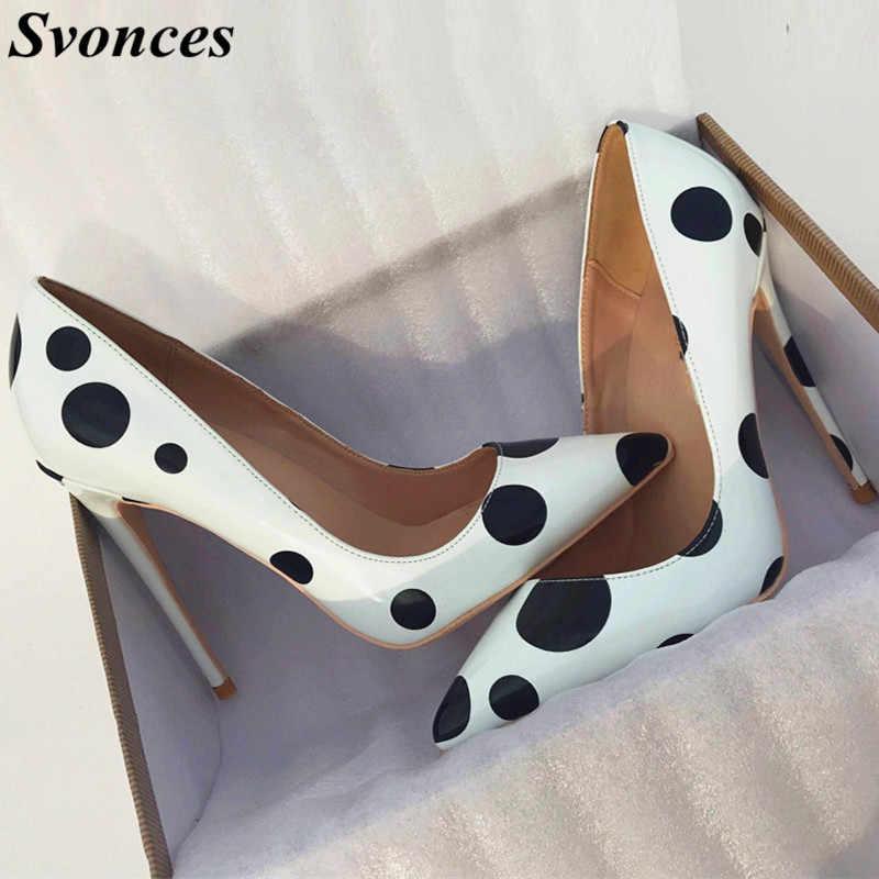 289bd38dea3 Autumn New Black Dots White Heels Ladies Shoes Party Wear Patent ...