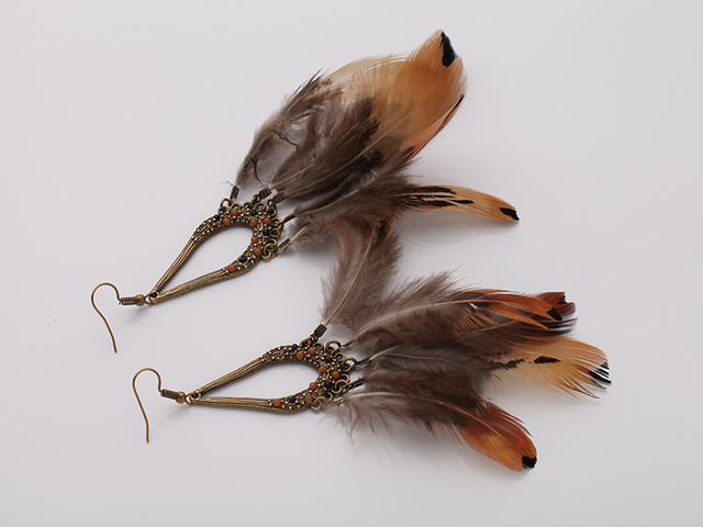 Bronze Plated Shoulder Duster Real Feather Earrings
