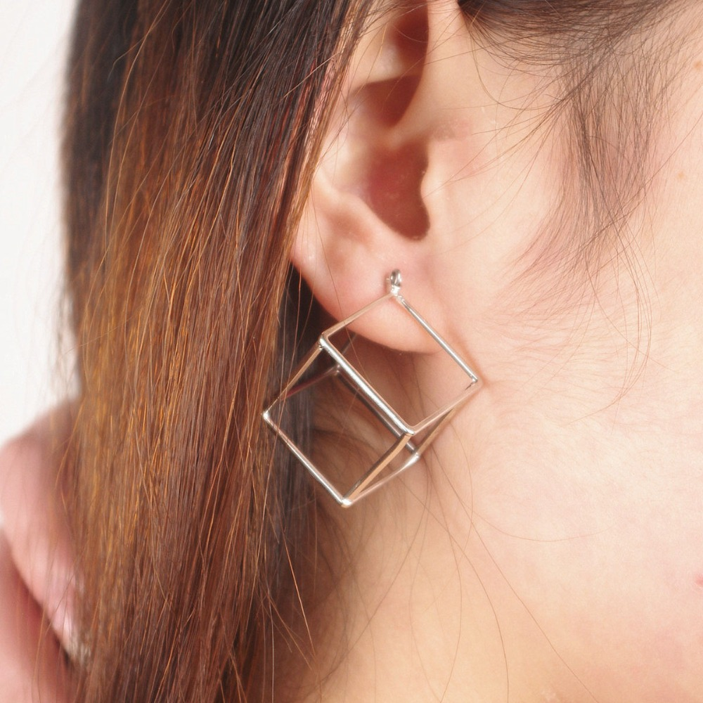 Boho Hollow-Out Cube Stud Earrings for Women Simple Metal Geometric Stud Earrings Pendientes Brincos 6A3032 ...