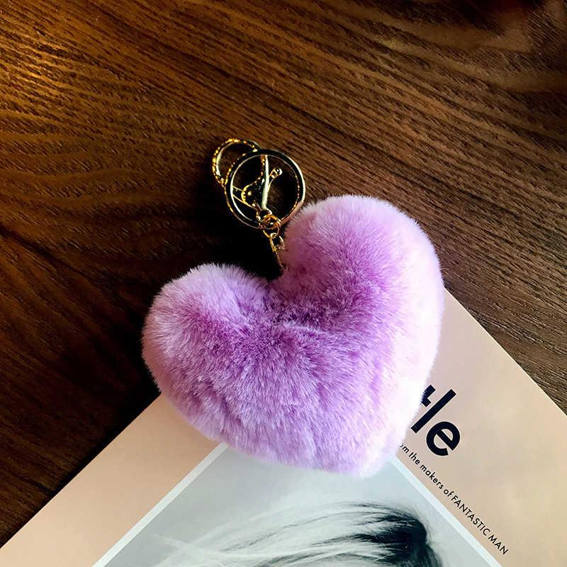 18 colores llavero de pompón mullido forma adorable de corazón pompón llavero titular imitación conejo piel Pom Poms bola llavero para bolso y coche