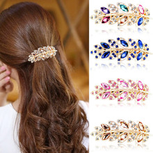 New Vintage Leaves Hair Clips Jewelry Crystal Hair Clips Hairpins Tool 2018  bridal hair jewelry accessories  #0322