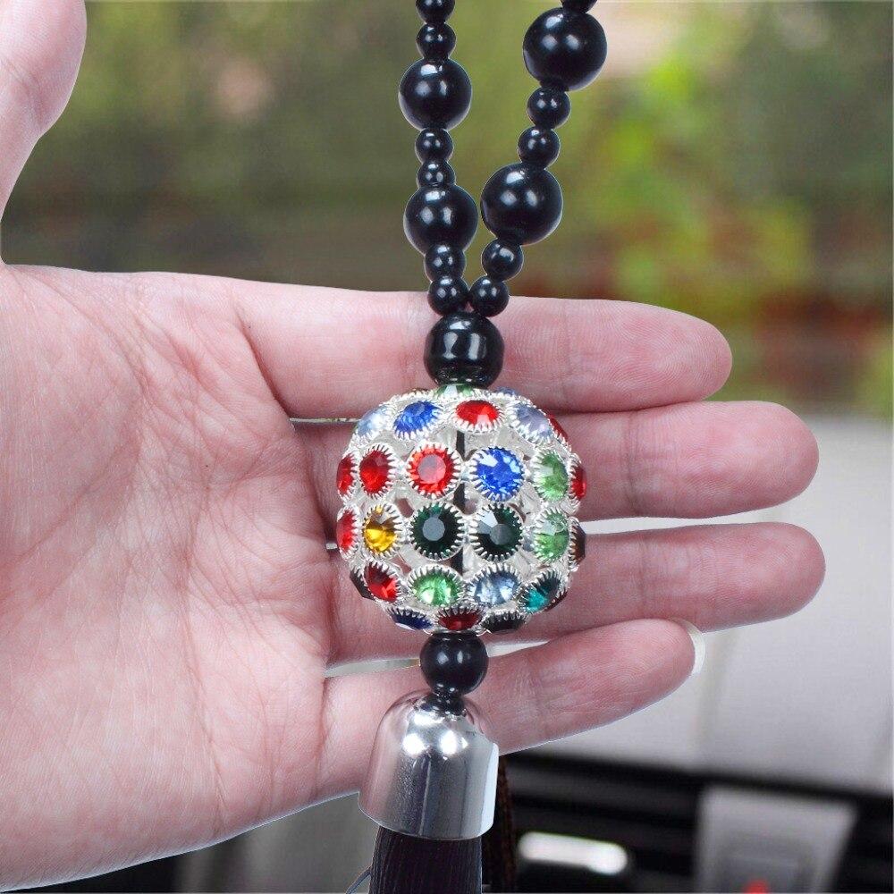 Зеркало заднего вида автомобиля подвесной орнамент Декорирование Интерьера дома Будда бусины хрустальный шар счастливый кулон вешалки для сумки