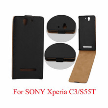 Vertical PU Leather Flip Case Fundas Capa For Sony Xperia C3 Cover Back TPU Case