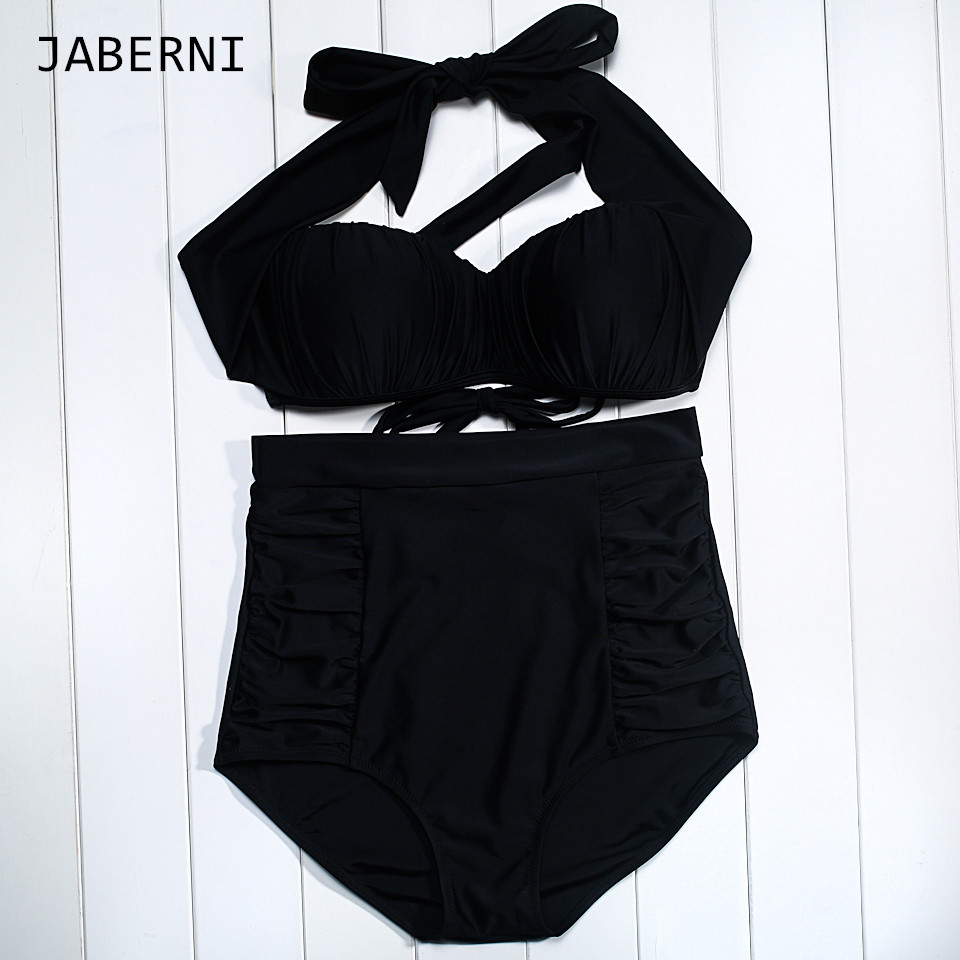 ФОТО JABERNI New arrival bikini set 2016 sexy women swimwear swimsuit bikini Push Up halt top balck solid Swimsuit summer mailot