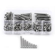 цены 160pcs/Set Hex Socket Cap M3 SS304 Stainless Steel Metric Thread Head Screws Bolts Repair Tool Accessory