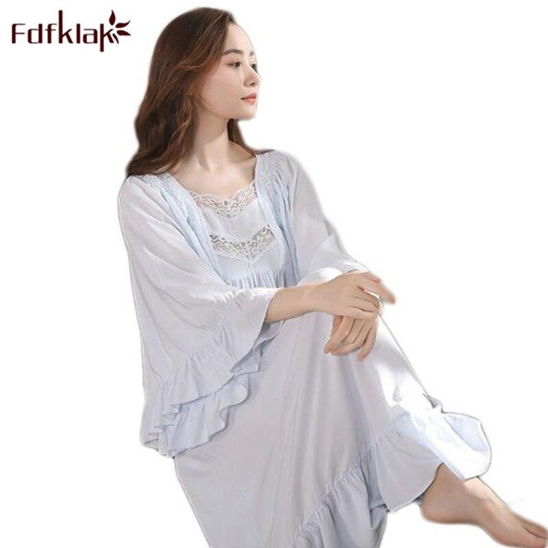 Fdfklak Women Long Nightgown Spring Autumn Princess Nightgown Cotton Sleepwear Home Suit Female Nightgowns Sleepshirts Q652