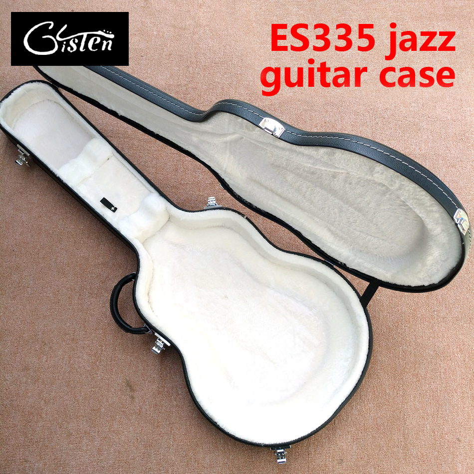 New style, high quality Hollow body ES 335 Jazz electric guitar case, black leather hard case with white lining, free shipping high quality hollow maple body nashville electric guitar with gold bigsby free shipping
