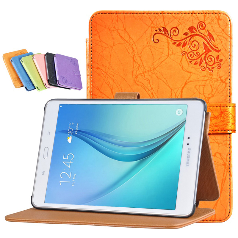 Ultra Slim Folio Stand Protective Print Flower PU Leather Case Cover For Samsung Galaxy Tab A 8.0 T350 T351 T355 P350 Tablet slim fit stand feature folio flip pu hybrid print case for lenovo tab 3 730f 730m 730x 7 inch