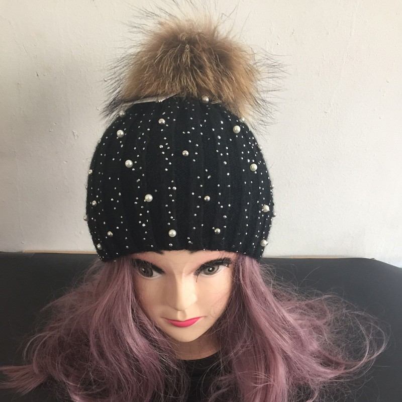 6b0e32be Women Winter Fur Hats Beanies Gorro Diamond Pearl Embed Female Caps ...