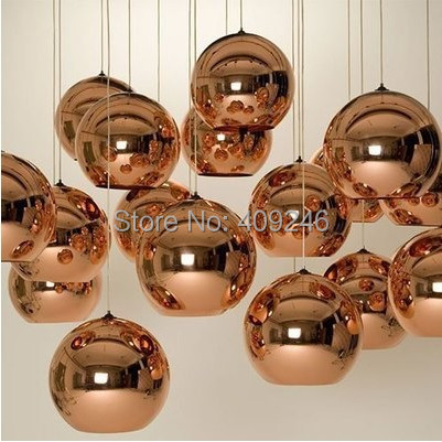 15cm/20cm Plating Mirror Glass Ball Pendant Ceiling Lamp Golden Ball Droplight Coffee Shop Cafe Bar Dining Room Hall Way Club