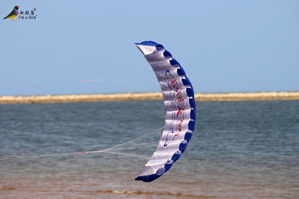 Free-Shipping-Outdoor-Fun-Sports-Power-Dual-Line-Stunt-Parafoil-Parachute-Rainbow-Sports-Beach-Kite-For-Beginner-5