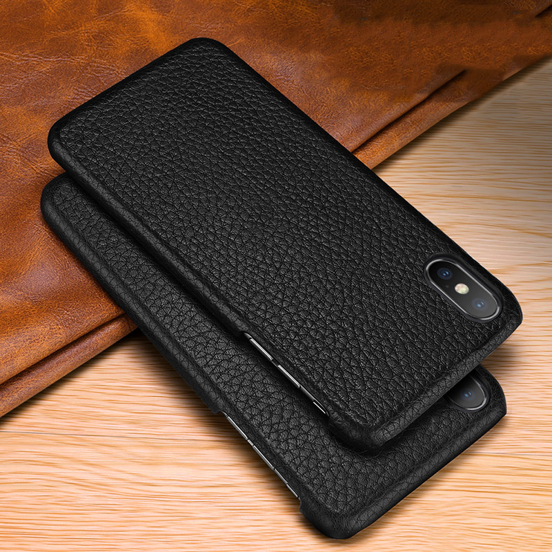 Image 2 - First layer cowhide Business Genuine Leather case cover For Iphone XS MAX XS XR X Matte Phone CaseFitted Cases