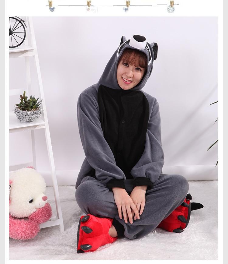 Cosplay Costume Cartoon Adult Kafshëve Raccoon Grey Unisex Onesie - Kostumet - Foto 3