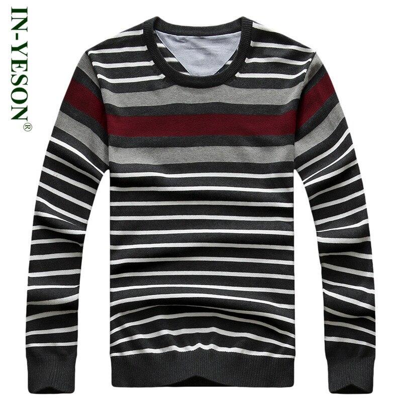New IN YESON Brand Striped font b Sweater b font font b Men b font Autumn