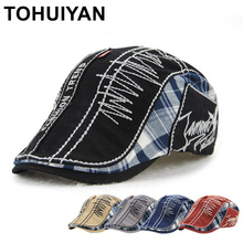 TOHUIYAN Vintage Cotton Newsboy Caps Men Women Duckbill Viso