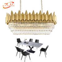 Candelabro de cristal lineal moderno iluminación LED candelabros de restaurante ovalados lámpara colgante de barco iluminación de comedor