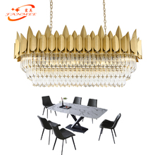 Modern Linear Crystal Chandelier LED Lighting Oval Restaurant Chandeliers Lights Boat Hanging Lamp Living Dining Room Lighting