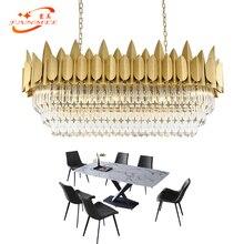Modern Linear Crystal Chandelier LED Lighting Oval Restaurant Chandeliers Lights Boat Hanging Lamp Living Dining Room Lighting цены