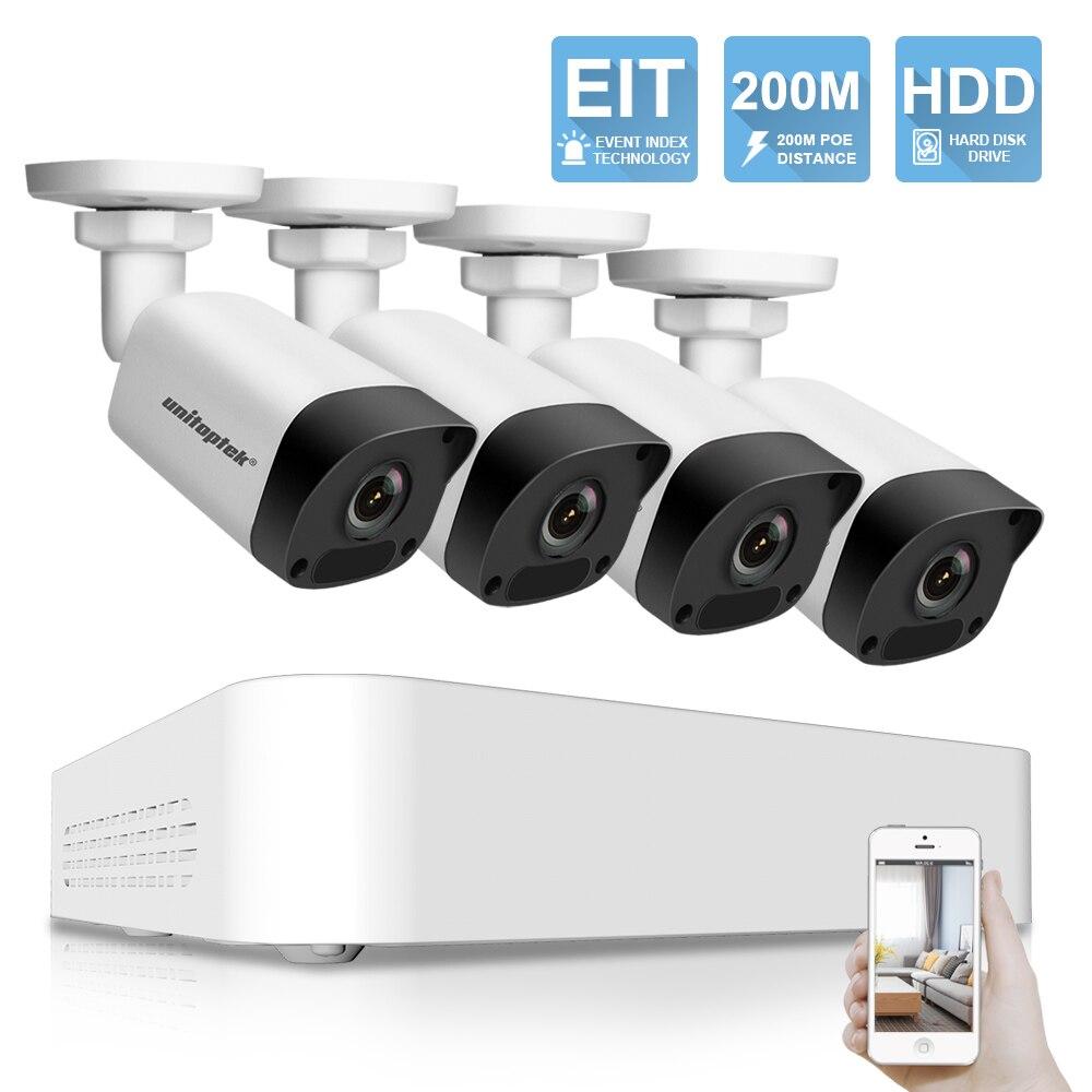 Ultra 265 1080 p 4CH POE NVR 200 m POE Distance Accueil Vidéo CCTV Système de Surveillance Kit 4 pcs 2MP IP Caméra Étanche IR P2P Nuage