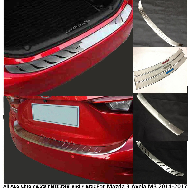 цена на car body Stainless steel Back Rear Pedal Door Scuff Plate Frame outside Threshold Trunk For Mazda 3 Axela M3 2014 2015 2016 2017