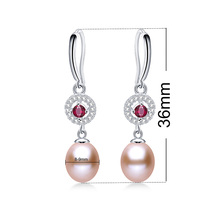 AAA Zircon High Quality Real Natural Pearl Drop Earrings For Women Fashion 925 Sterling Silver Jewelry Genuine Freshwater Pearl