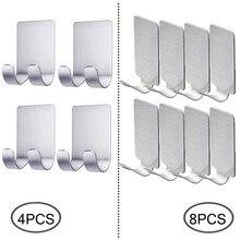 4/8PCS Self Adhesive Hooks Wall Hat Hangers 304 Stainless Steel Waterproof Storage Kitchen Bathroom Hanger