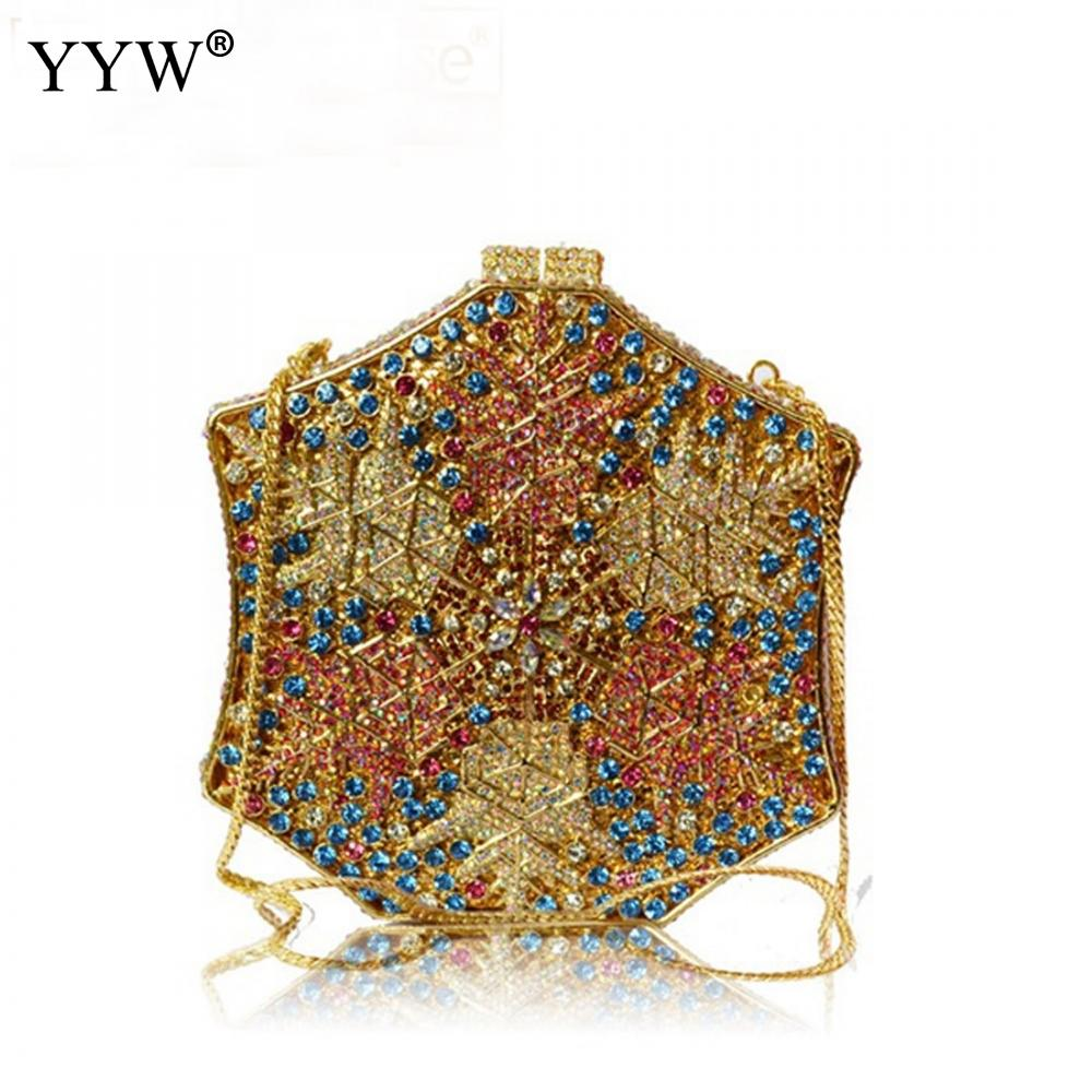 Newest Party Evening Bag Design Luxury Rhinestone Bag Lady Wedding Clutch Gold Crystal Women Clutch Bag Party Purse Leaf Pattern gold woman evening bag women diamond rhinestone clutch crystal chain shoulder small purse gold wedding purse party evening bags