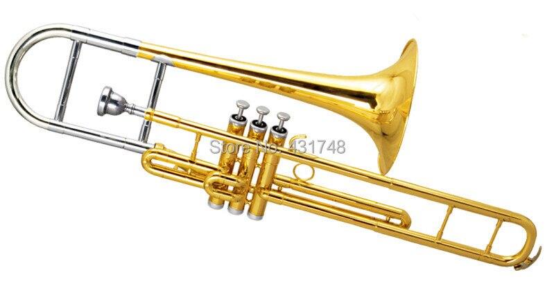 F Piston Trombones Copper Body Cupronickel Piston with wood case Musical instruments 52mm piston
