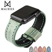 MAIKES Vintage leder uhr strap grün uhr zubehör armband für Apple uhr band 42mm 38mm iwatch 44mm 40mm armband