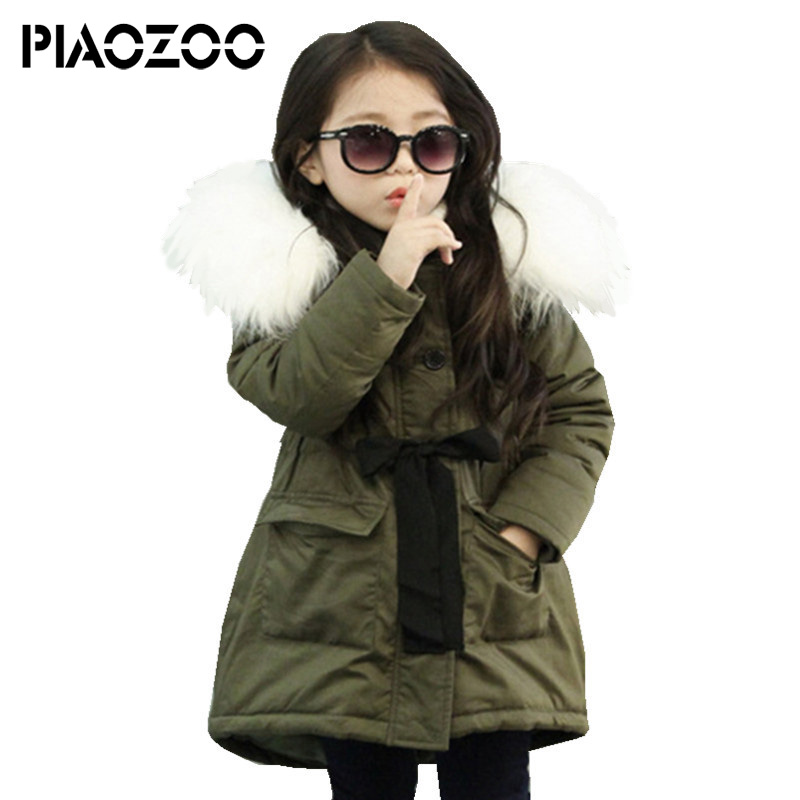Army Green girl winter long thick Warm Coat Removable Fur collar Hooded Children Outerwear New Fashion Children Winter JacketP20 цена