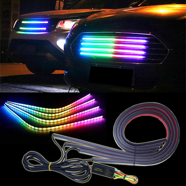 4x 60cm knight rider rgb led strip scanner light glowing bar 4x 60cm knight rider rgb led strip scanner light glowing bar multicolor net lamp rgb colors mozeypictures Images