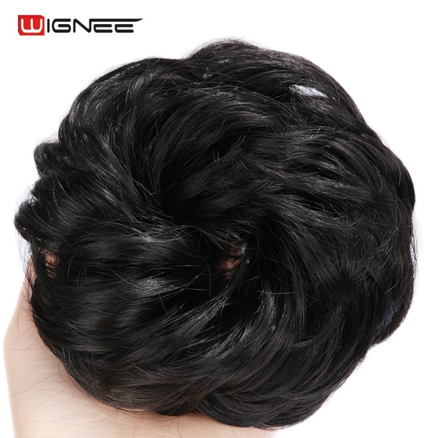 Wignee Curly Chignon For Women High Temperature Synthetic Fiber Elastic  Band Natural Black Brown Mixed Purple Hair Extensions daeaa37875d
