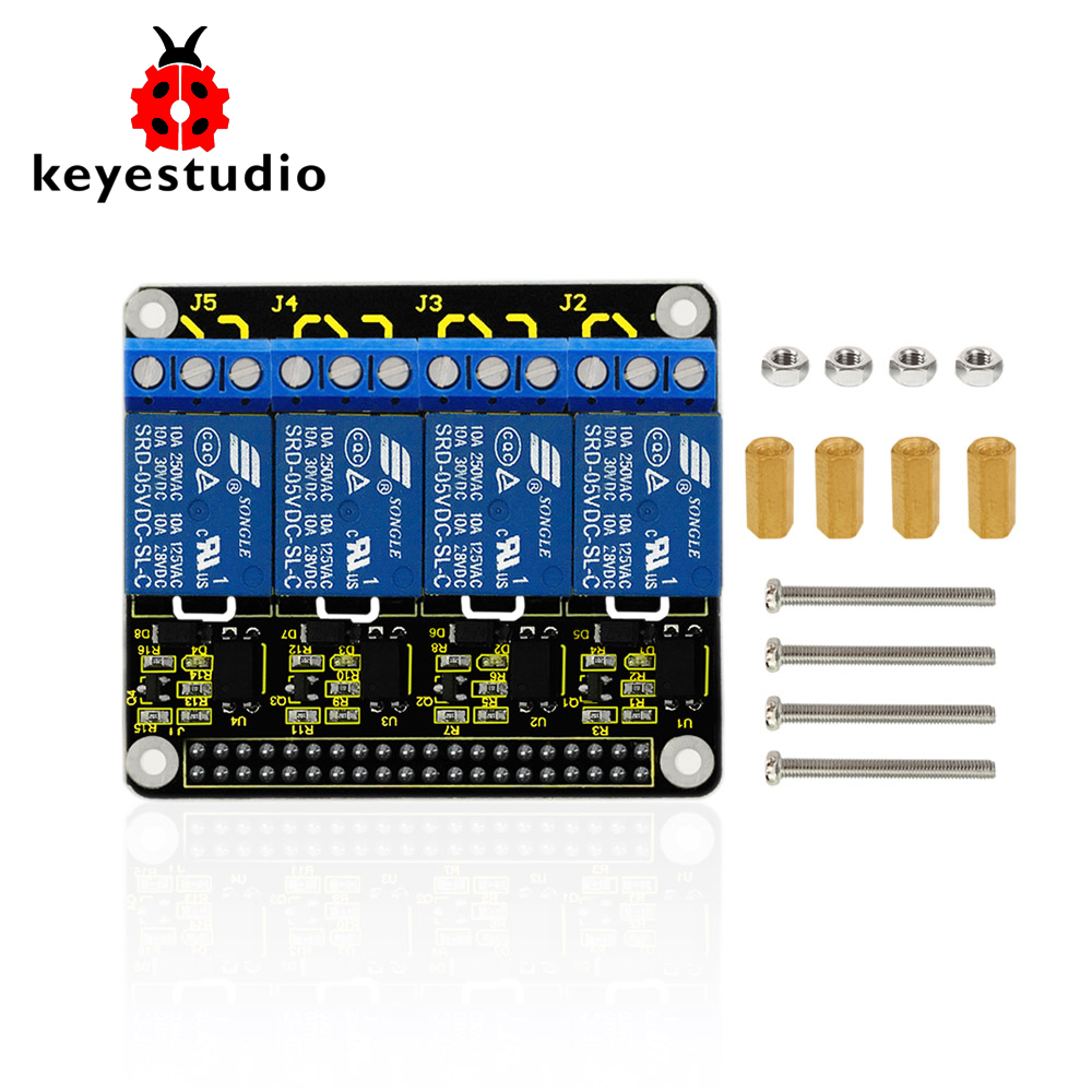 все цены на Keyestudio RPI 4-Channel 5V Relay Shield For Raspberry Pi A+/B+/Pi 2/Pi 3 Model B/ CE Certification